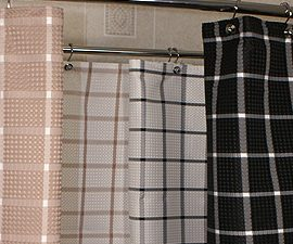 Custom Size Shower Curtain Polyester Boxed Waffle
