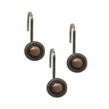 Shower Curtain Hooks Round Decorative Rope Rubbed Bronze