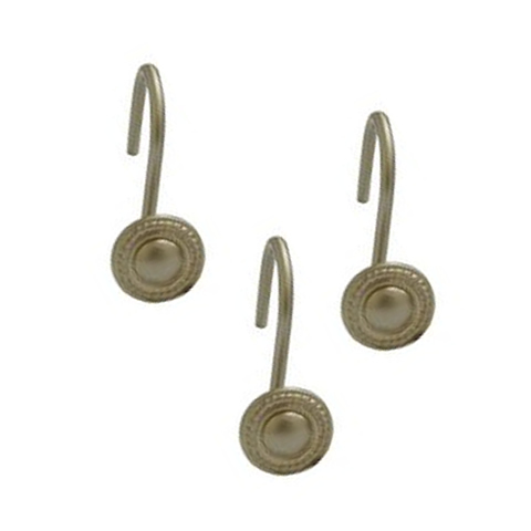 Shower Curtain Hooks Round Decorative Rope Satin Nickel