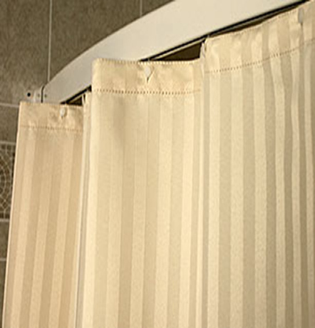Custom Size Shower Curtains Polyester Satein Stripe Beige